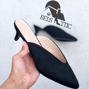 Shoes - Black Kitten Heel Mule Pumps Vegan